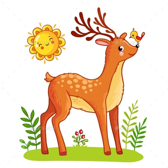 Deer Stands on the Meadow - Animals Characters