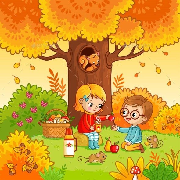 Picnic in the Forest with Children - Landscapes Nature
