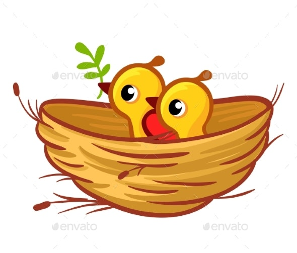 Vector Illustration of the Chicks Sitting - Animals Characters