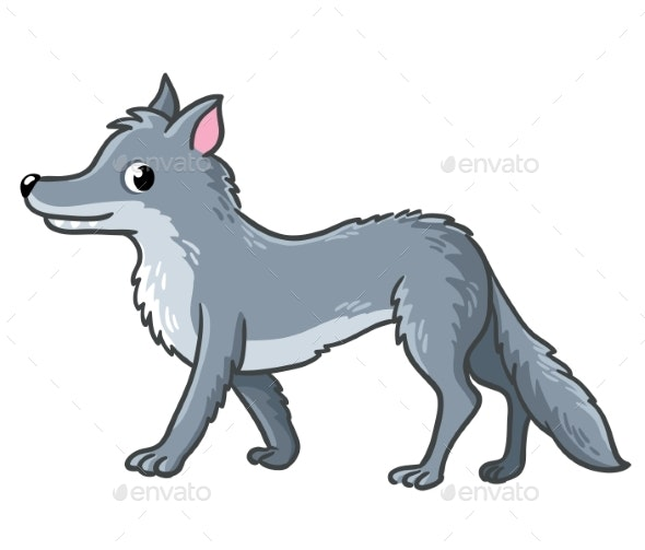 Wolf on a White Background - Animals Characters