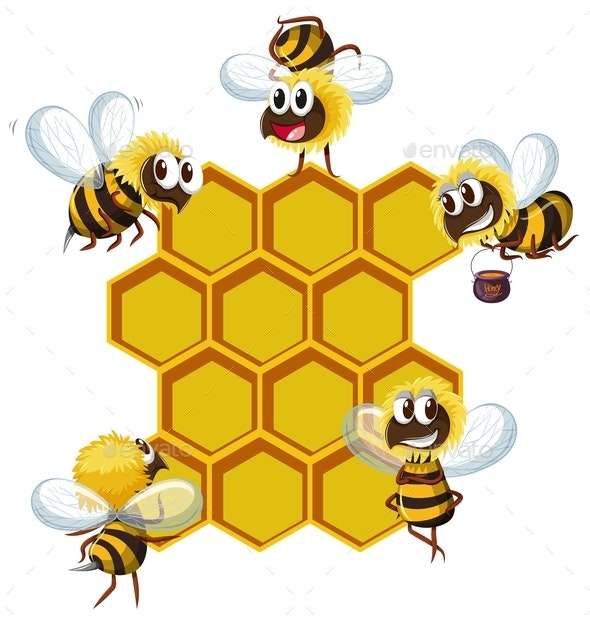 Happy Bees and Beehive - Animals Characters