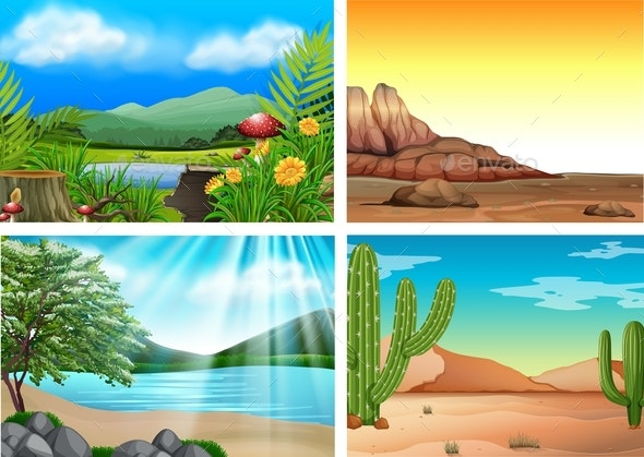 Four Different Landscape and Nature - Landscapes Nature