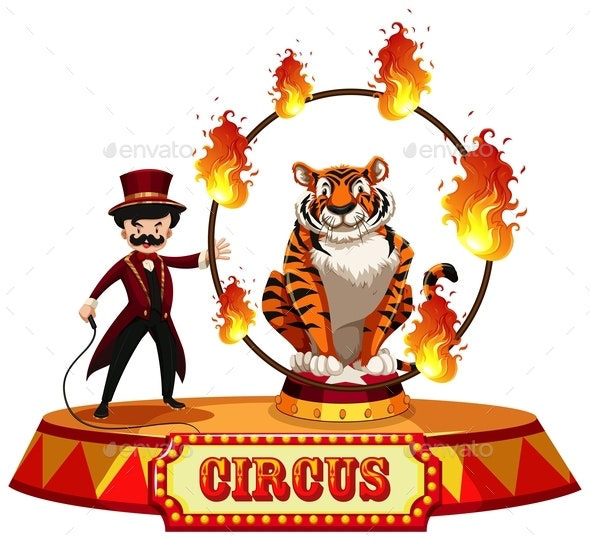 A Tiger Circus Show On White Background - People Characters