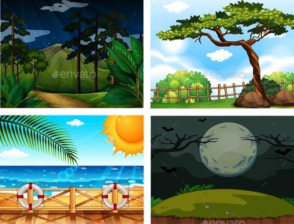 Four Different Outdoor Nature Scenes - Landscapes Nature