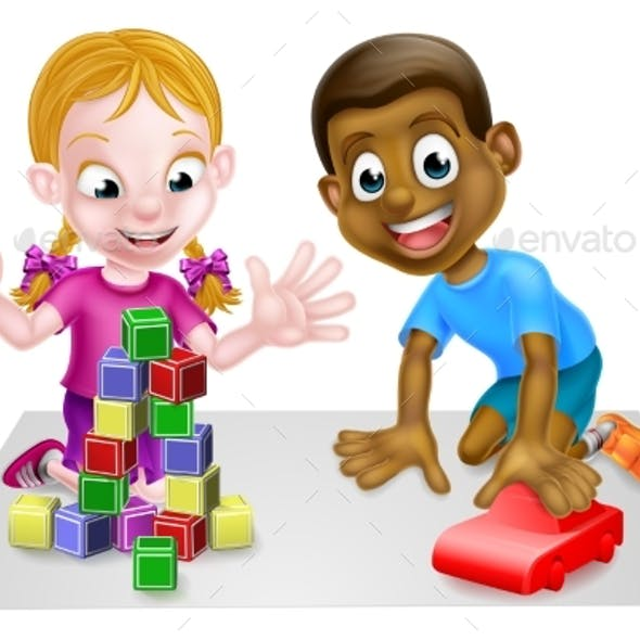 Cartoon Boy and Girl Playing with Car and Blocks