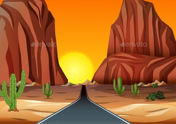 Sunset In The Desert With Road - Landscapes Nature