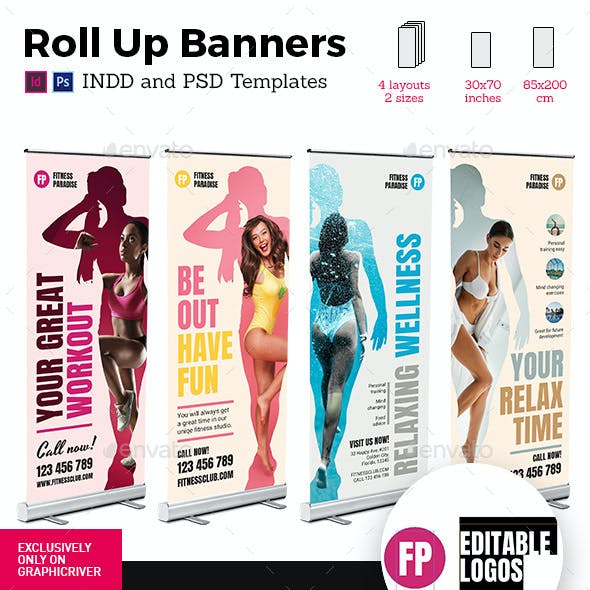Colorful Fitness Rollup Stand Banner Display 4x Indesign and Photoshop Template