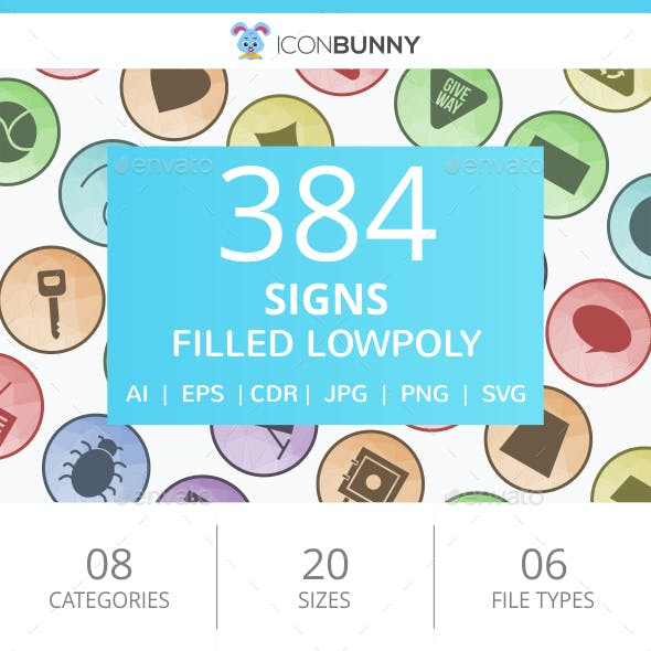 384 Sign Filled Low Poly Icons