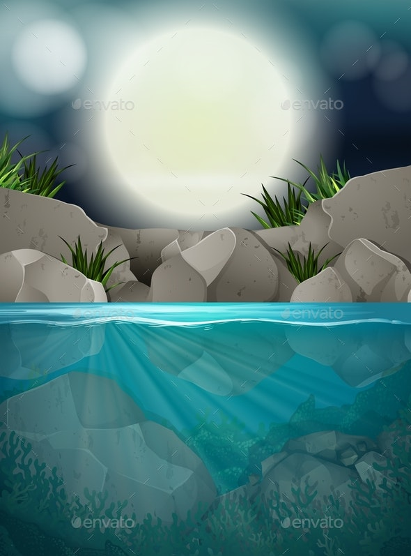 A Big Full Moon Night At The River - Landscapes Nature