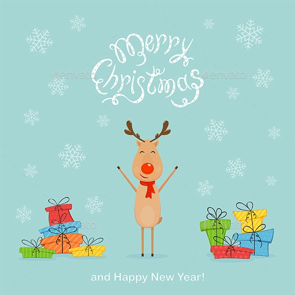 Happy Deer with Colored Presents on a Blue Christmas Background - Christmas Seasons/Holidays