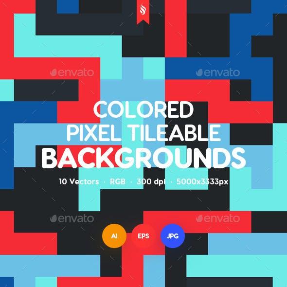 Pixel Art. Multi-colored Pixels in 8 Bit Style Seamless Pattern