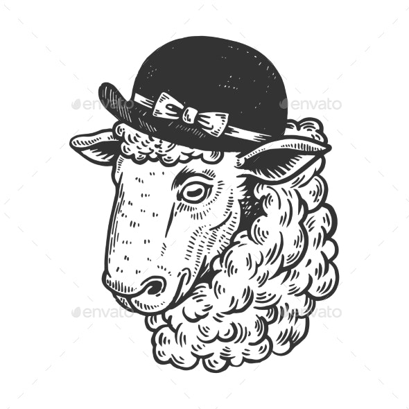 Sheep Animal in Woman Hat Engraving Vector - Man-made Objects Objects