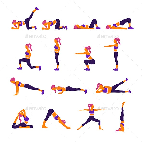 Gym and Yoga Exercises - People Characters