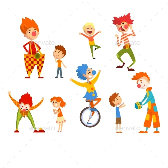 Clowns and Happy Little Kids Set - Miscellaneous Vectors