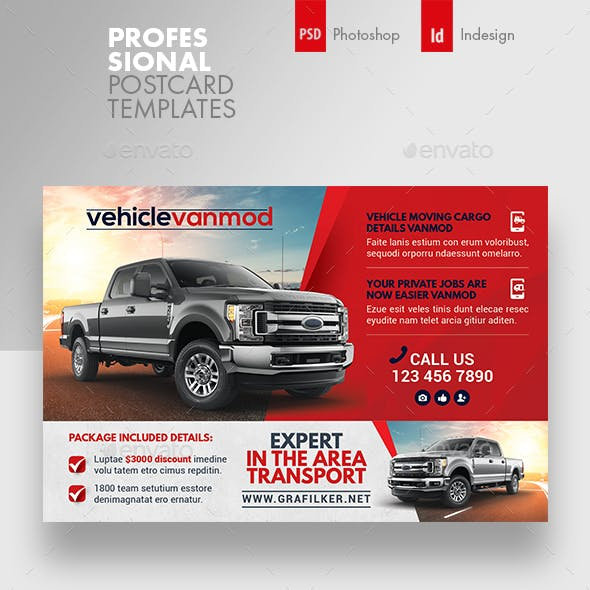 Commercial Vehicle Postcard Templates