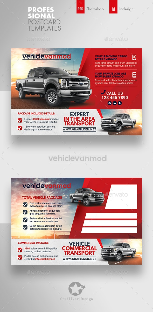 Commercial Vehicle Postcard Templates - Cards & Invites Print Templates
