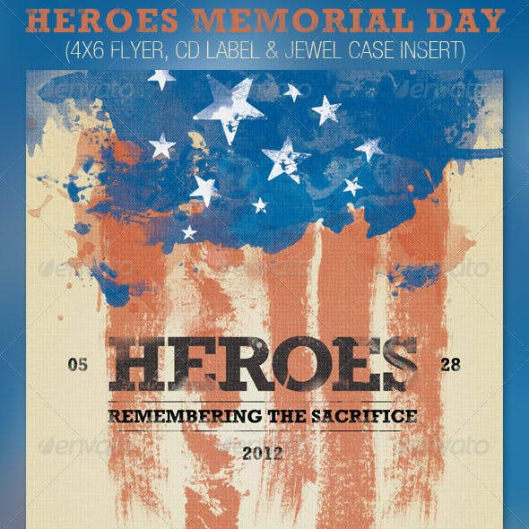 Heroes Memorial Day Flyer and CD Template