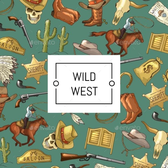Vector Hand Drawn Wild West Cowboy Background