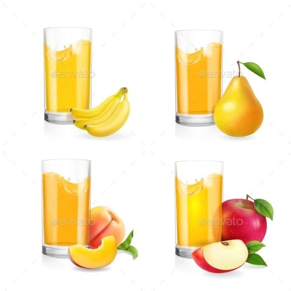 Fruit Juice in Glass Set - Food Objects