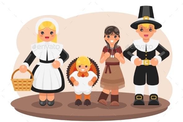 Thanksgiving Children Turkey Pilgrim Indian - People Characters