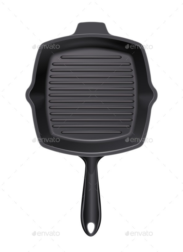 Cast-Iron Grill Pan for Cooking Barbecue - Man-made Objects Objects