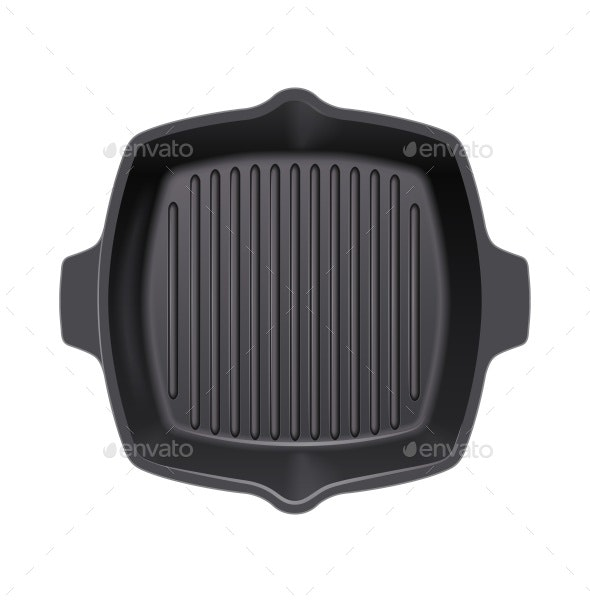 Cast-Iron Grill Pan for Cooking - Man-made Objects Objects