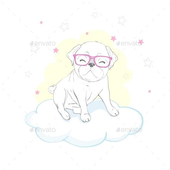 Pug Dog Cartoon Illustration. Cute Friendly Fat - Animals Characters