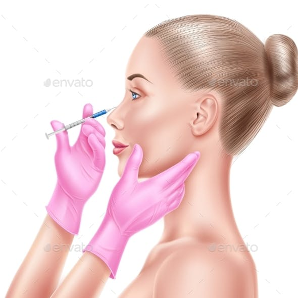 Vector Liposuction Surgery Doctor Hand and Syringe