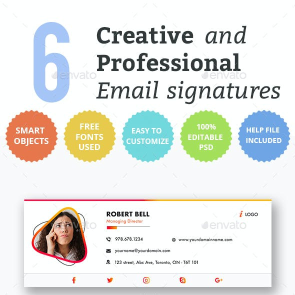 Email Signature Templates- Creative 6 Designs