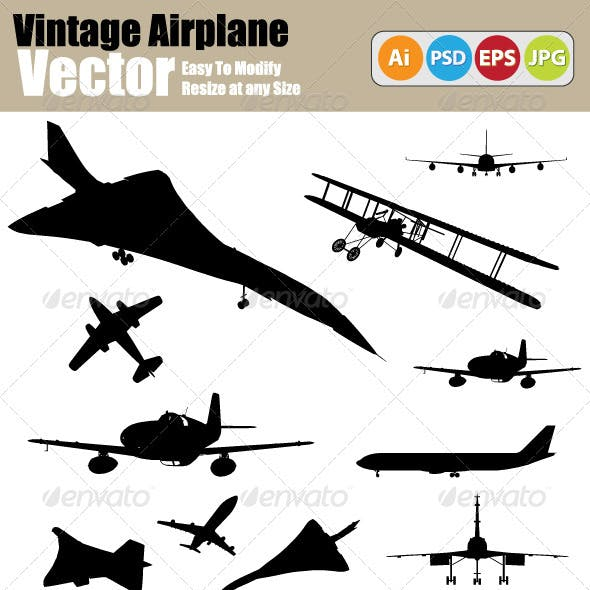 Vector Vintage Airplane Silhouette Set