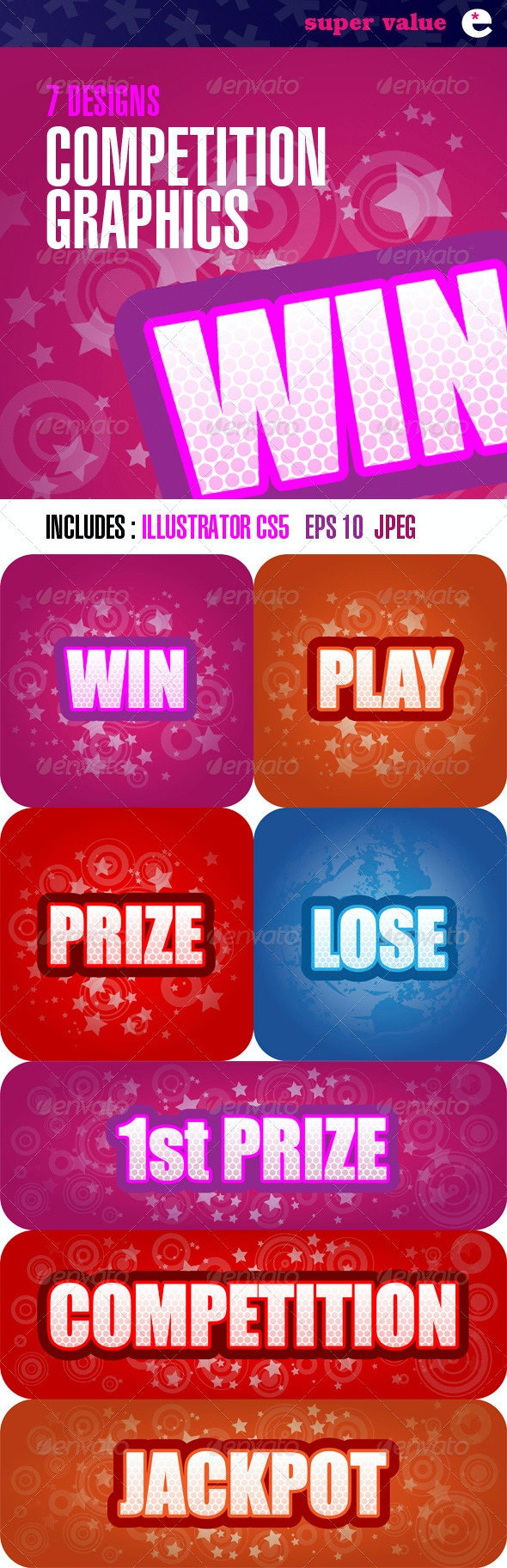 Competition Graphics Panels – Pack of 7 Designs - Sports/Activity Conceptual
