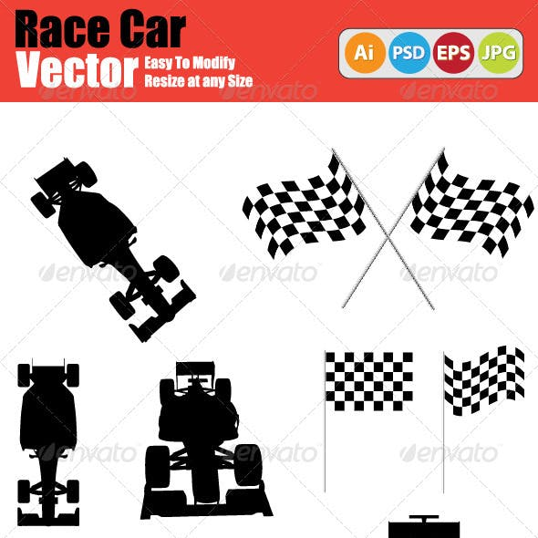 Vector Race Car Silhouette Set