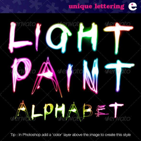 Light Painted Alphabet on Black