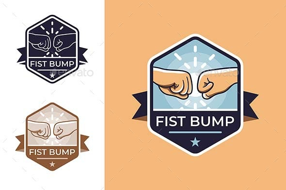 Badge for Friendship with Fist Bump - Miscellaneous Vectors