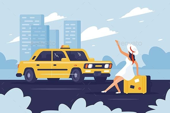 Person Catching Taxi on the Road Next to the City - Travel Conceptual