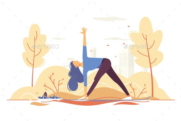 Young Girl Doing Yoga in a Park on City Background - Sports/Activity Conceptual
