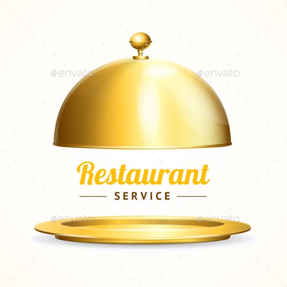Realistic Detailed Shiny Golden Restaurant Cloche