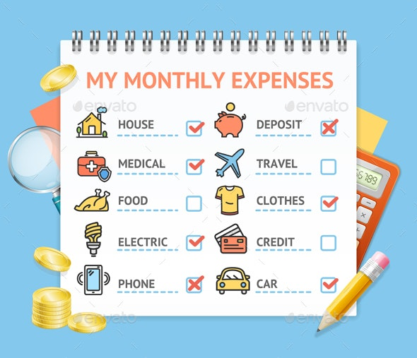 Monthly Expenses Realistic Concept - Miscellaneous Vectors