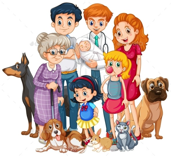 Family With Newborn Baby and Many Pets - People Characters