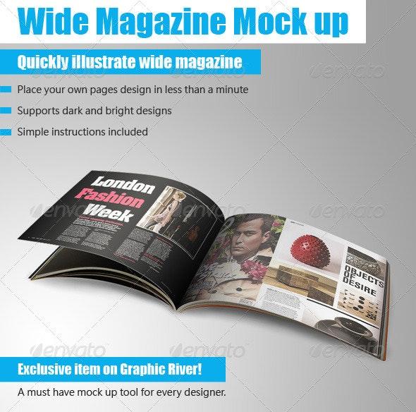 Wide Magazine Mock up - Magazines Print Templates