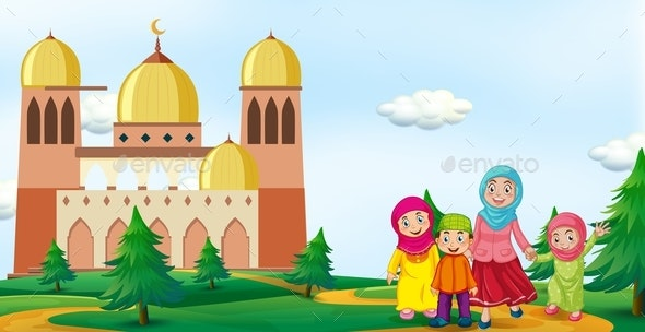 Family in Front of Mosque - People Characters