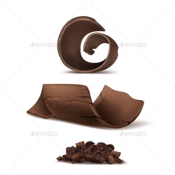 Vector Realistic Brown Chocolate Shavings - Food Objects