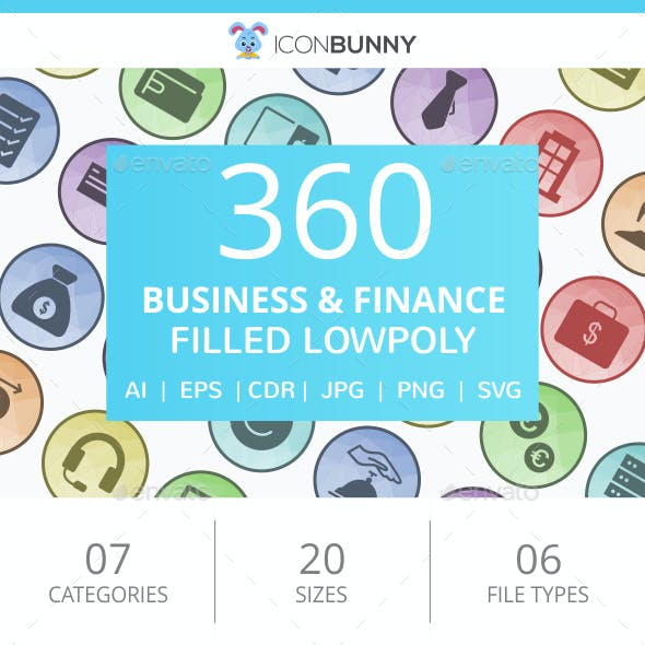 360 Business & Finance Filled Low Poly Icons