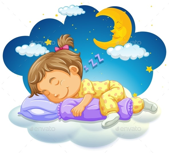 Baby Girl Sleeping at Night - People Characters