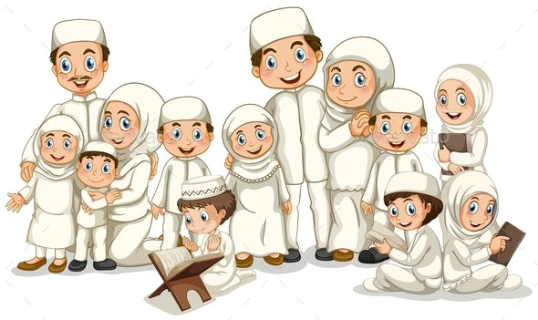 Muslim Family in White Costume - People Characters
