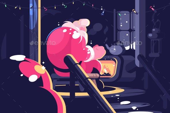 Santa Sitting Near Fireplace - Christmas Seasons/Holidays