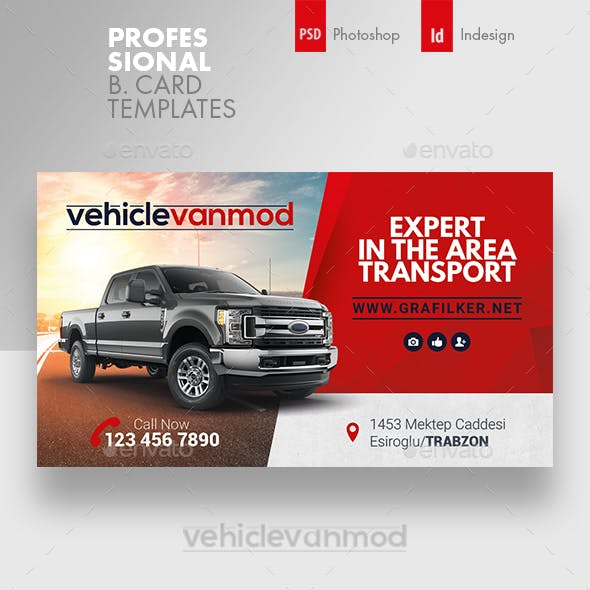Commercial Vehicle Business Card Templates