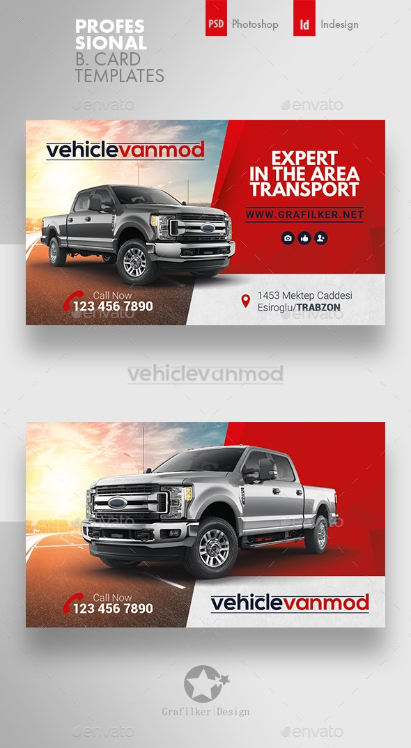 Commercial Vehicle Business Card Templates - Corporate Business Cards