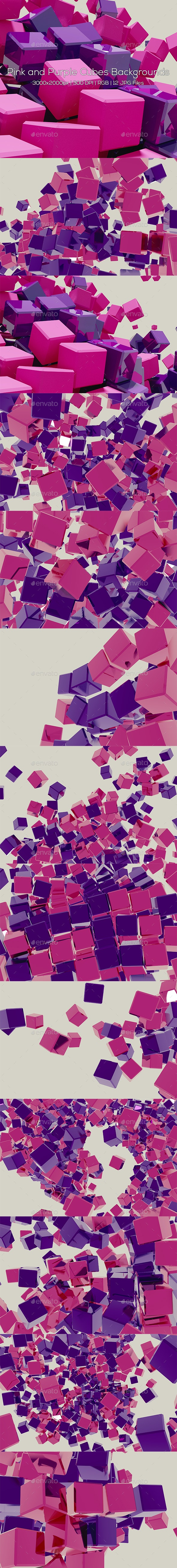 Pink and Purple Cubes Backgrounds - Abstract Backgrounds
