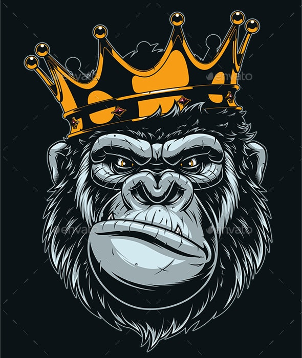 Ferocious Gorilla Head - Animals Characters